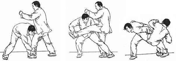 Atrape de contra a puño sobre pierna adelantada (2 puntos), zancadilla (tercer punto) y proyección