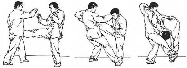 Atrape patada lateral con mano adelantada (1º punto), pisotón a pie atrasado (2º punto) y atrape a cuello con mano atrasada (3º punto)