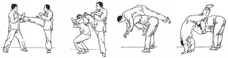 Atrape patada frontal (1º punto), flexión bajo rodilla (2º punto) y proyección