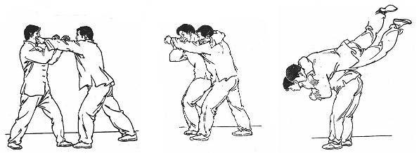 Atrape de puño, zancadilla a pie adelantado y proyección al tronco