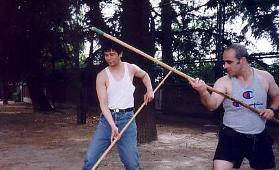 Entrenamiento con palo chino por Luis Ramírez Jiménez
